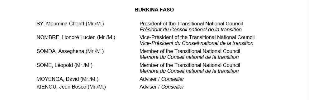 Liste Burkina
