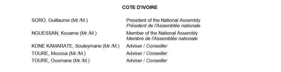 Liste Cote Ivoire
