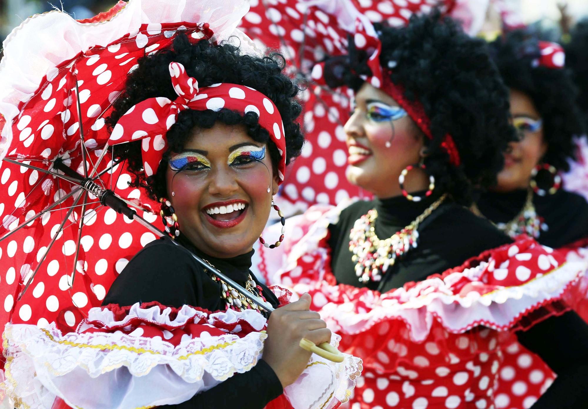 Lors du carnaval de Barranquilla, en Colombie.