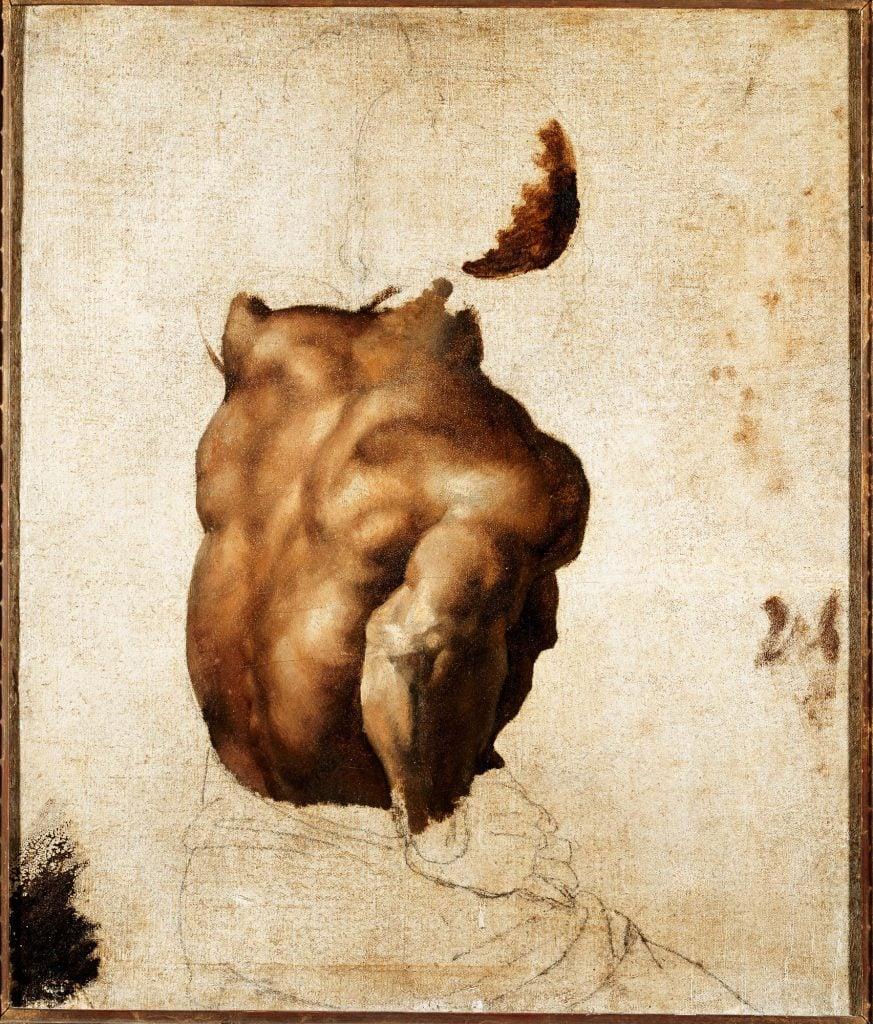 Étude de dos (d'après le modèle Joseph), de Géricault, pour Le Radeau de La Méduse.