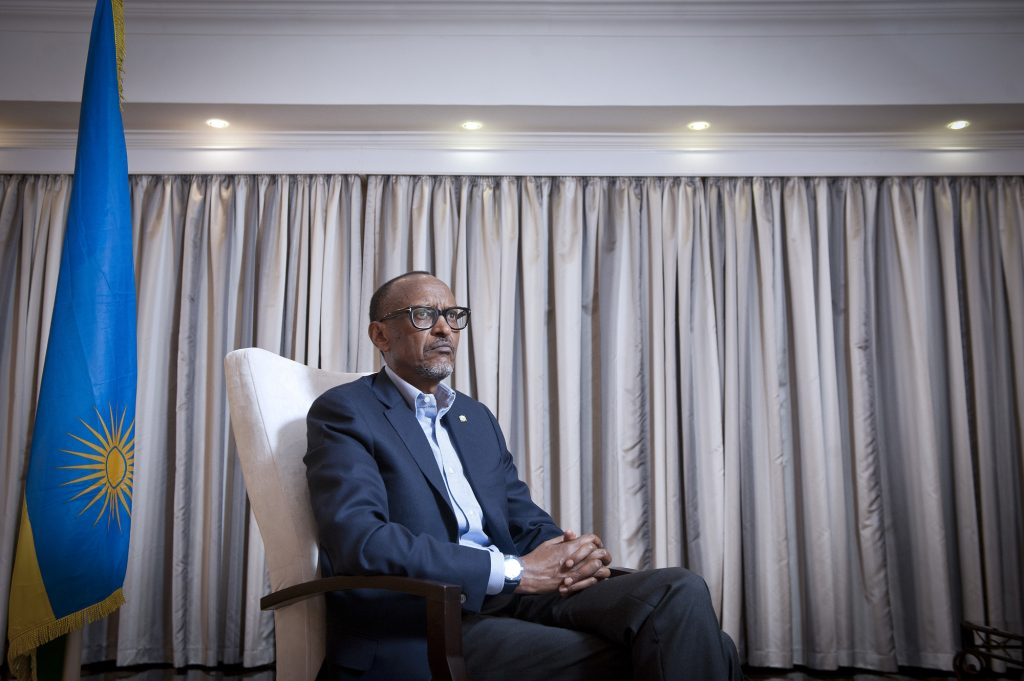 Paul Kagame (Rwanda), president de la Republique, lors d'une interview accordee a Jeune Afrique. A Kigali, le 23.03.2019. Photo Vincent Fournier/JA