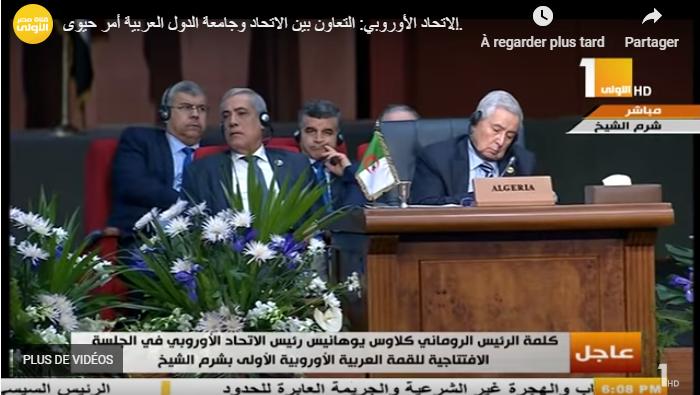 Abdelkader Bensalah soupçonné de s'être endormi au sommet entre la Ligue arabe et l'Union européenne, auquel il assistait en tant que président du Conseil de la nation, en février 2019 au Caire.