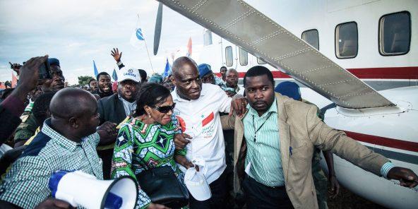 Le candidat Martin Fayulu, à l'aérodrome de Beni (Mavivi), le 5décembre dernier. Sa campagne électorale était en partie financée par Katumbi.