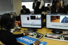 Dans les locaux d'Africa 24, télévision africaine d'information continue à Saint-Cloud (France).