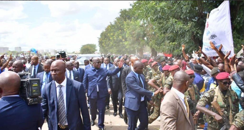 Le président Félix Tshisekedi à son arrivée à Lumumbashi, le 12 avril 2019.