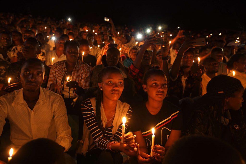 Lors des commémorations du génocide des Tutsi au Rwanda, le 7 avril 2019 au stade  Amahoro à Kigali.
