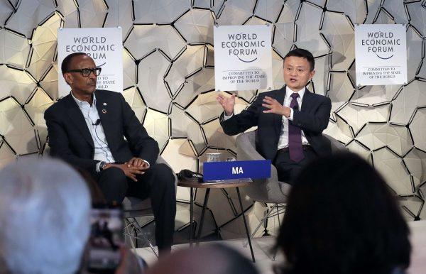 Paul Kagame, président du Rwanda et Jack Ma, président-fondateur d'Alibaba, géant chinois du commerce en ligne, lors d'une conférence au dernier forum de Davos.