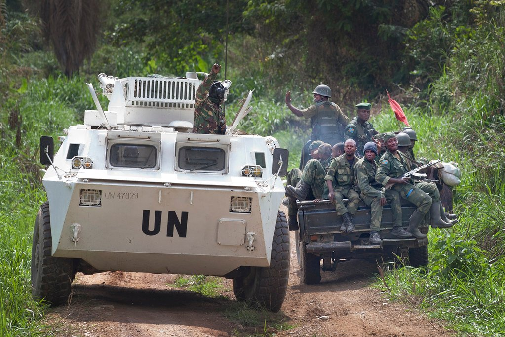 Lors d'une opération menée conjointement par les FARD et la Monusco face aux rebelles ougandais des ADF, en 2014 dans la région de Beni.