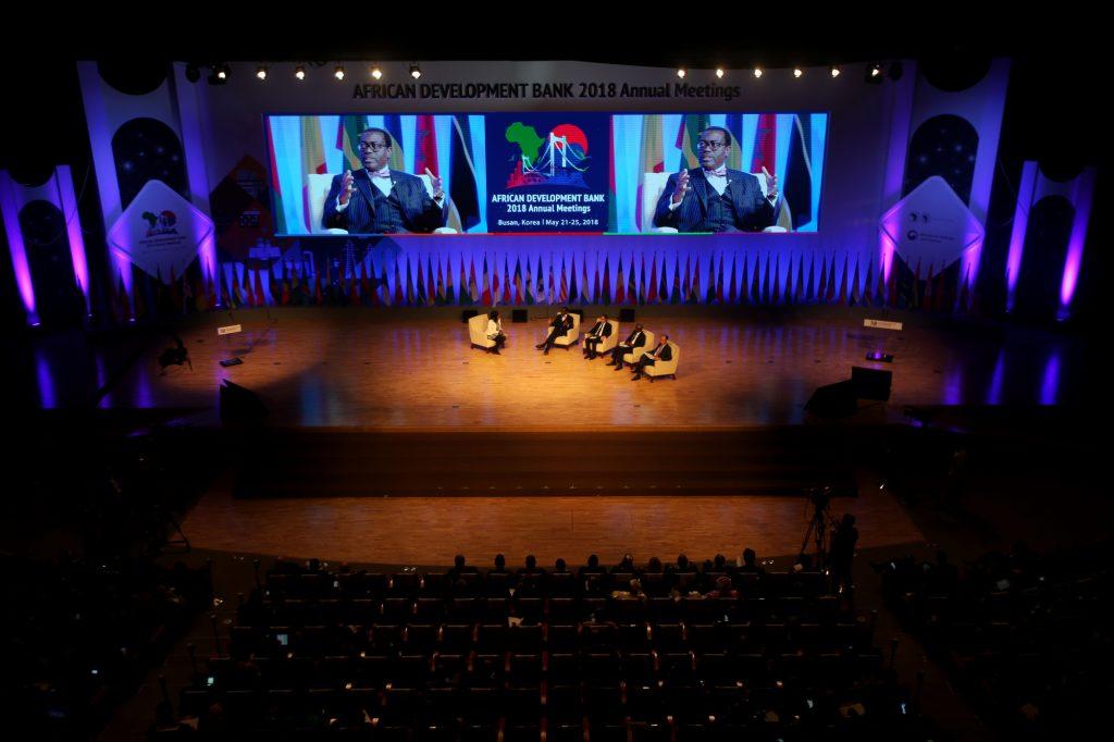 Lors des assemblées annuelles de la BAD, à Busan, en Corée du Sud, en mai2018.