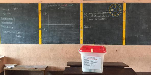 Un bureau de vote vide à Cotonou, dimanche 28 avril 2019 à l'occasion des premières élections législatives de l'ère Patrice Talon.