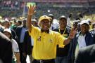 Cyril Ramaphosa en campagne à l'Ellis Park Stadium de Johannesburg, le 5 mai 2019.