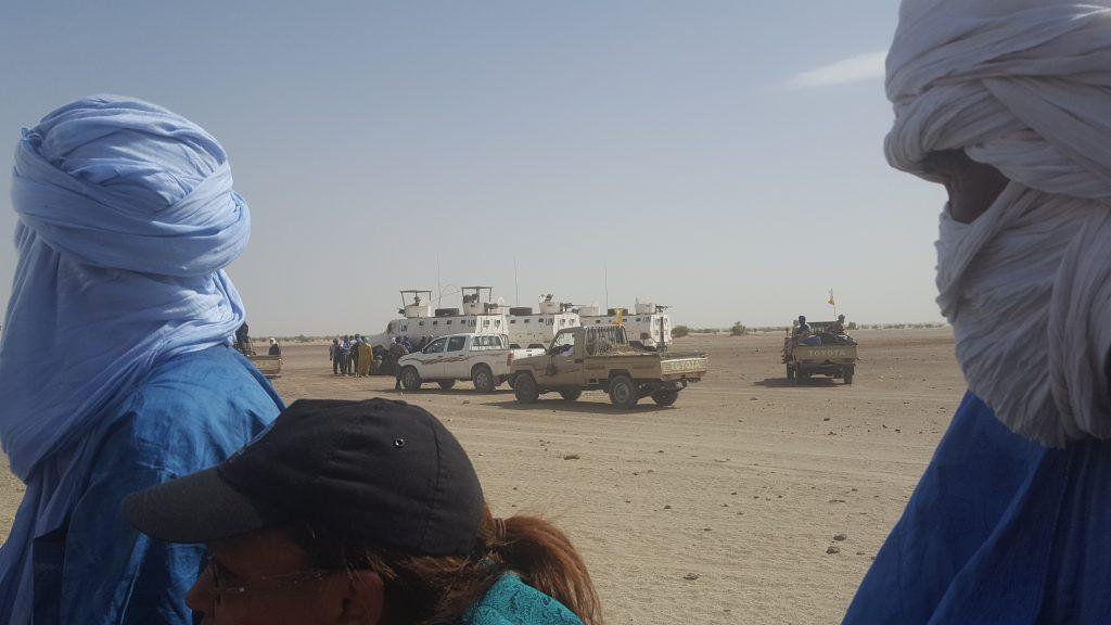 Un convoi de l'ONU escorté par des combattants du HCUA, le 6 mai 2019 à Koigouma.