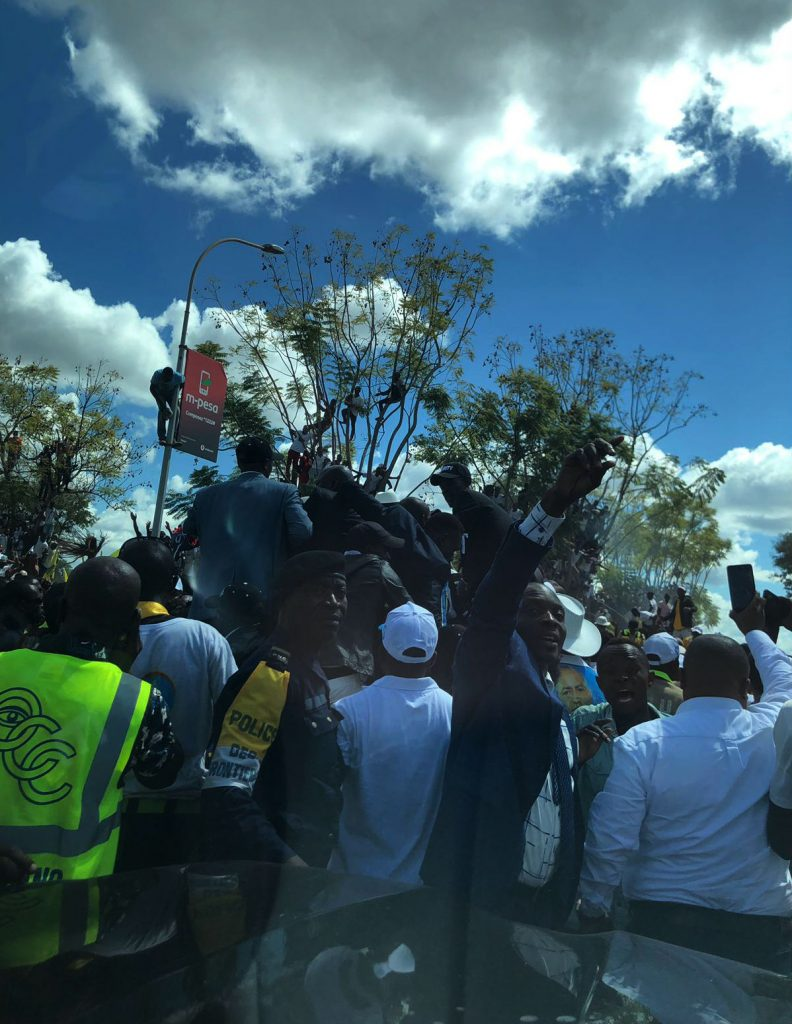 La foule en liesse à Lubumbashi, lors du retour de Moïse Katumbi, le 20 mai 2019.