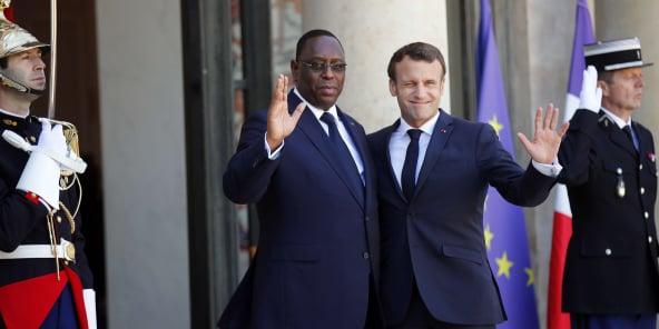 Le président sénégalais Macky Sall et son homologue français Emmanuel Macron, à l'Élysée le 15 mai 2019.