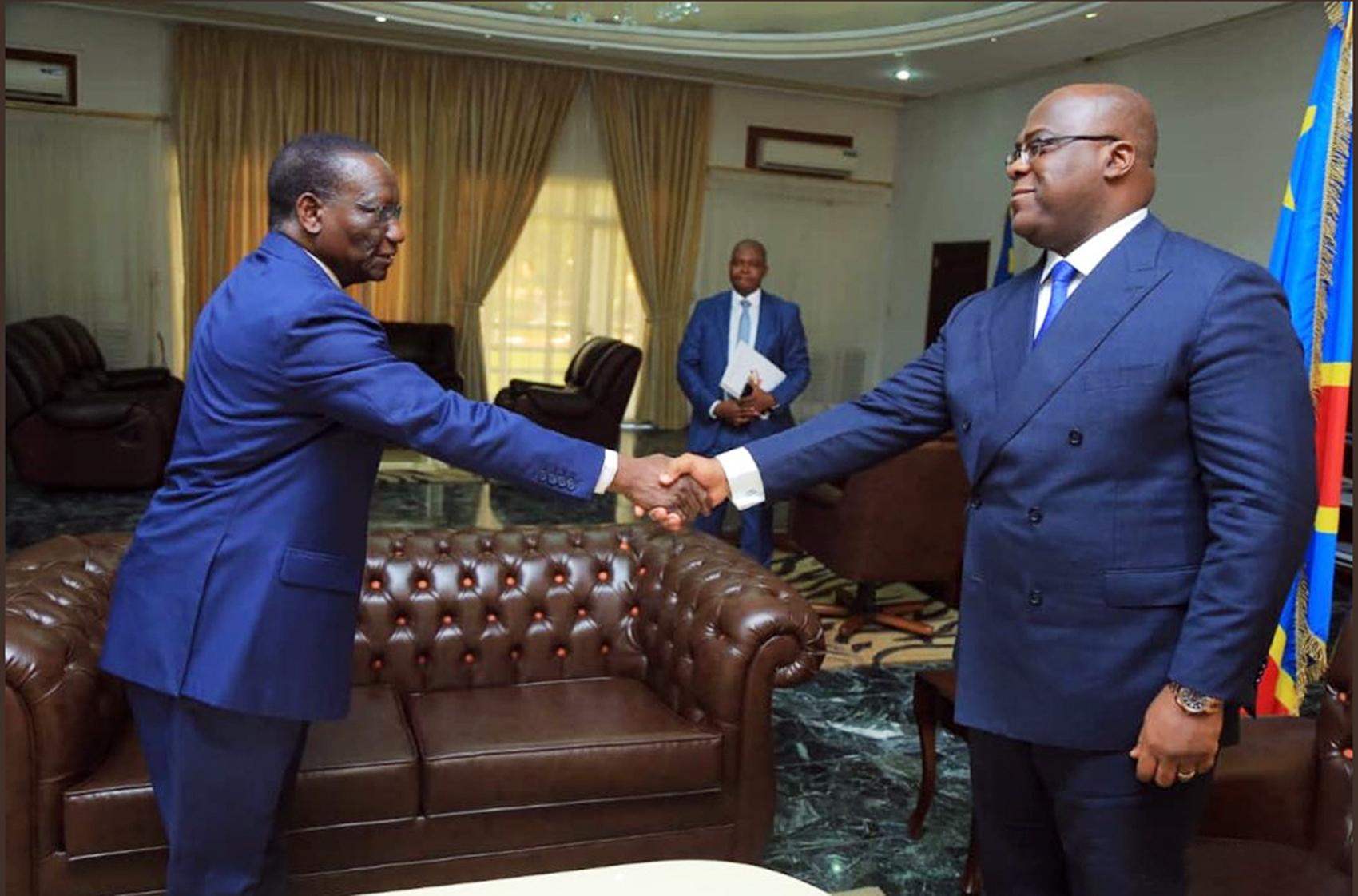 Sylvestre Ilunga Ilunkamba, avec le président Félix Tshisekedi, le 20mai.