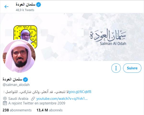 Capture d'écran du compte Twitter de Salman al-Awdah.
