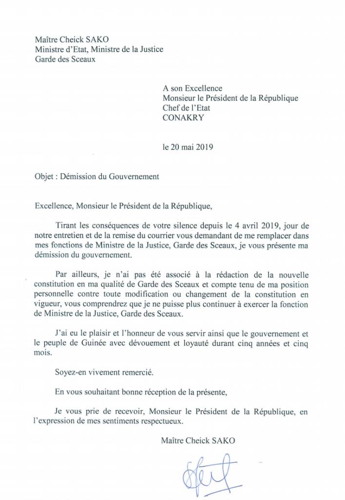La lettre de démission de Cheick Sako de son poste de ministre de la Justice, adressée le 20 mai au président guinéen Alpha Condé.