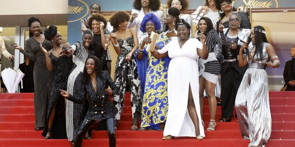 Les actrices du mouvement «Noire n'est pas mon métier», sur les marches du festival de Cannes, en 2018.
