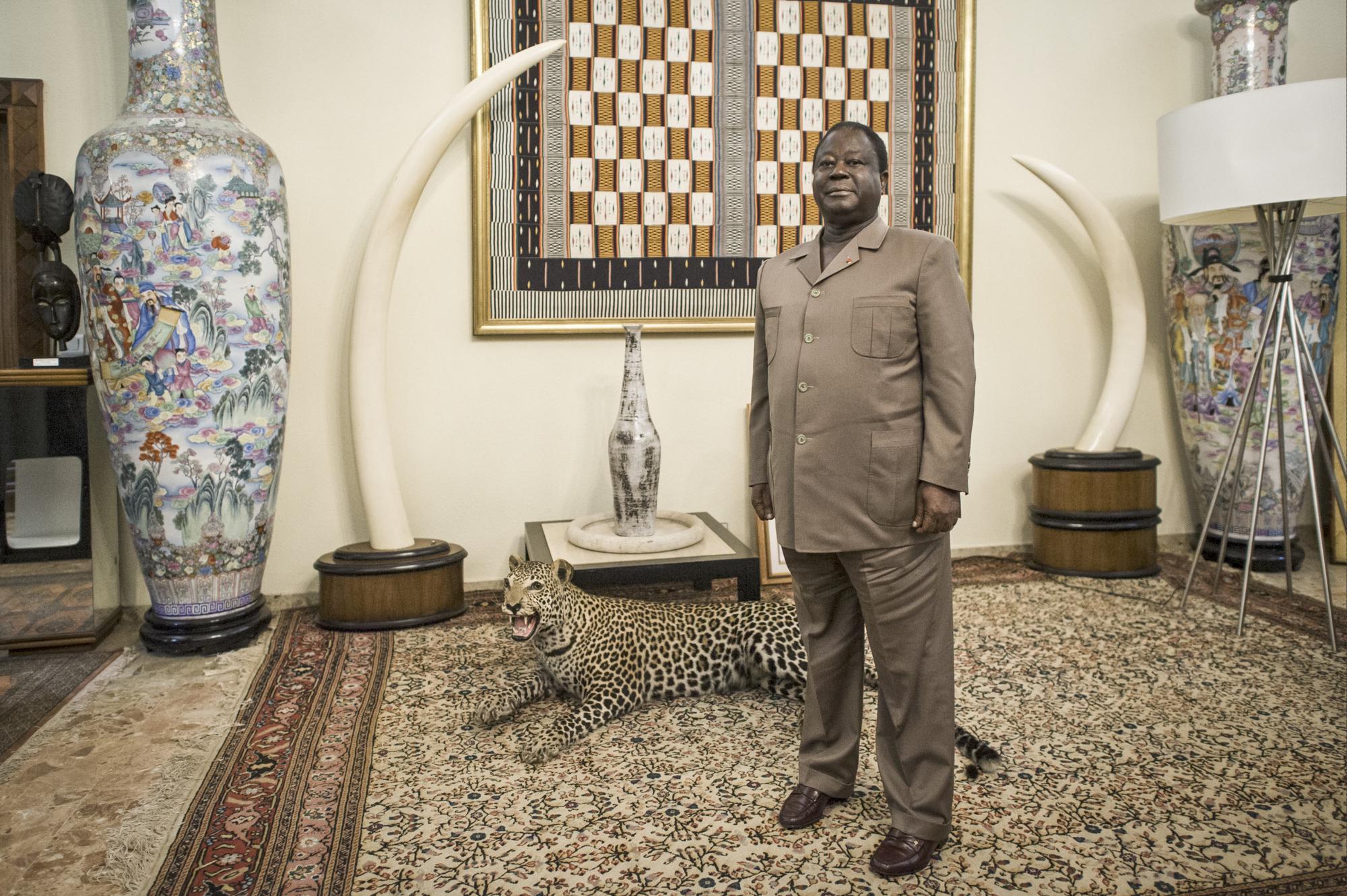 L'ex-président de la Côte d'Ivoire et actuel président du PDCI (Parti démocratique de la Côte d'Ivoire) Henri Konan Bédié à son domicile à Daoukro.