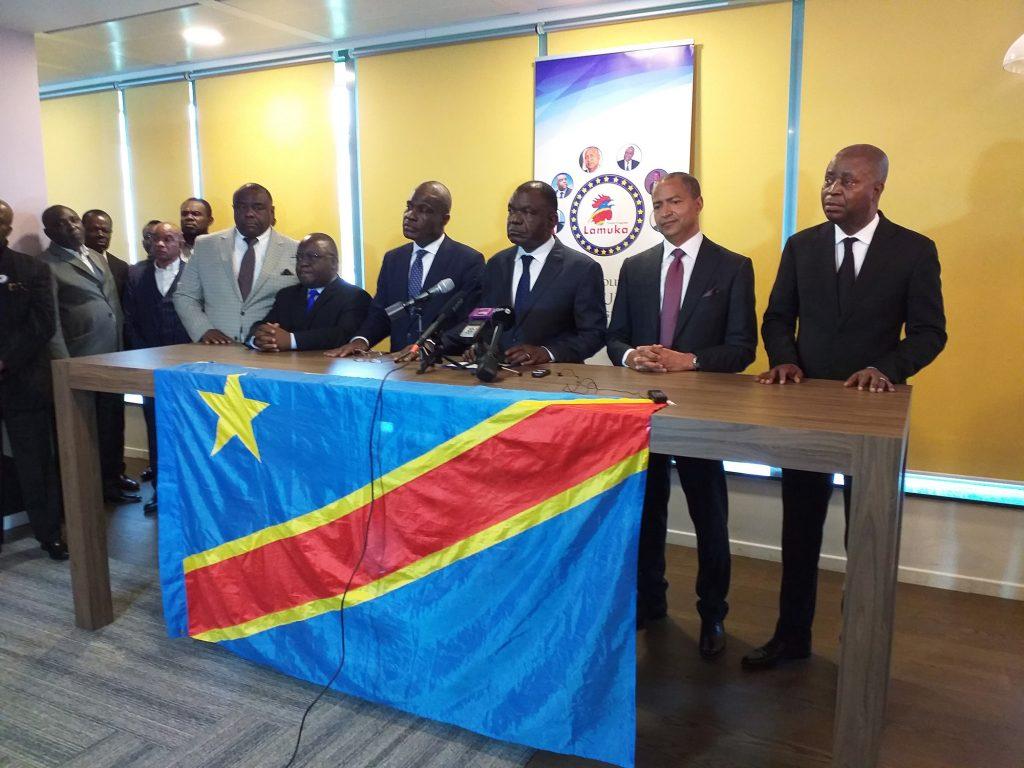 Réunion de la coalition Lamuka à Bruxelles, le 27avril. De g. à dr.: Jean-Pierre Bemba, Antipas Mbusa Nyamwisi, Martin Fayulu, Freddy Matungulu, Moïse Katumbi et Adolphe Muzito.