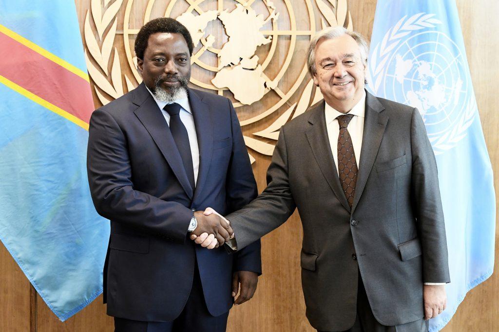 Joseph Kabila et Antonio Guterres, au siège de l'ONU.