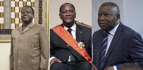 Henri Konan Bédié (à g.), Alassane Dramane Ouattara, Laurent Gbagbo.