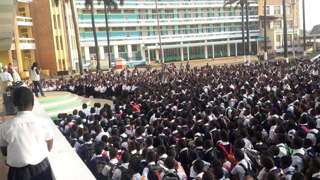 Opération de sensibilisation devant des étudiants de Lubumbashi par la Monusco, en 2017.