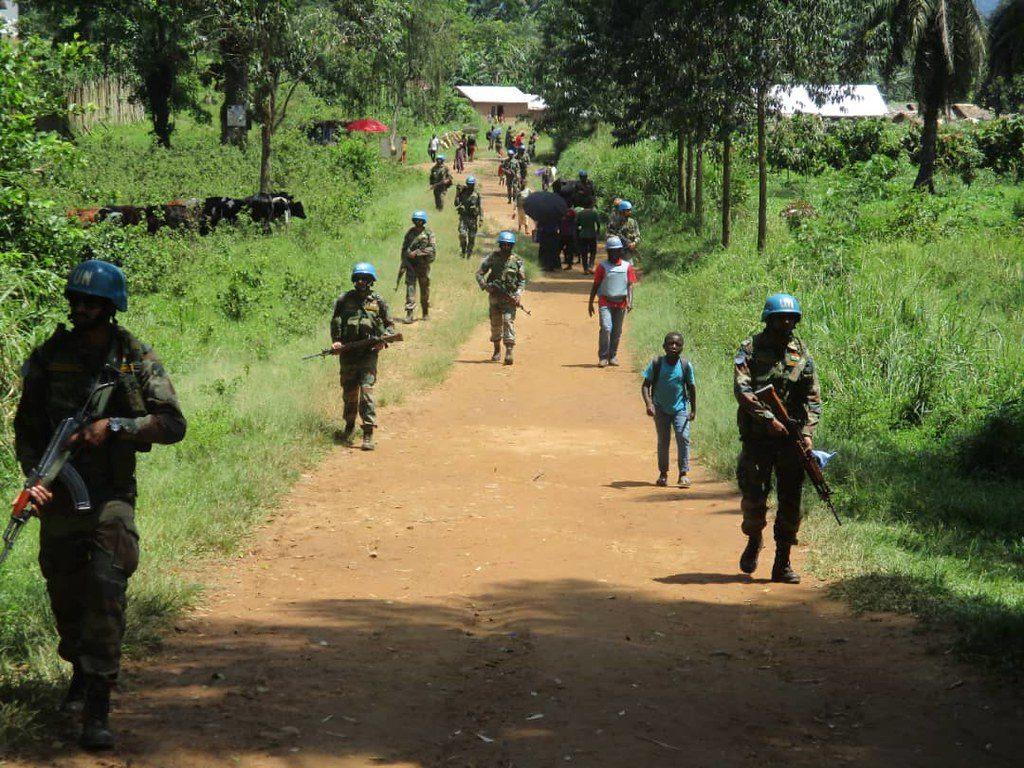 Une patrouille de la Monusco à à Pinga , dans le Nord Kivu, en mai 2019.