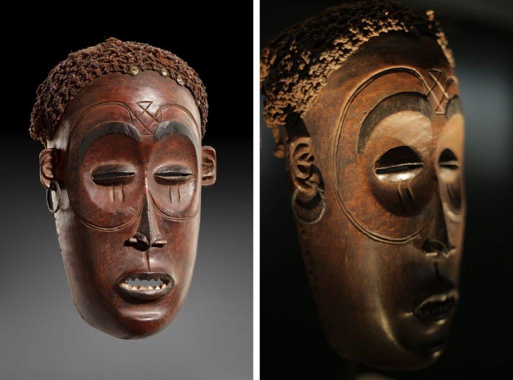 Masque Shinji Pwo (Angola), qui faisait partie de la collection du Musée de Dundo. Identifié par la fondation Dokolo sur le Marché de l'Art en 2014, il a été exposé à Luanda en 2016.