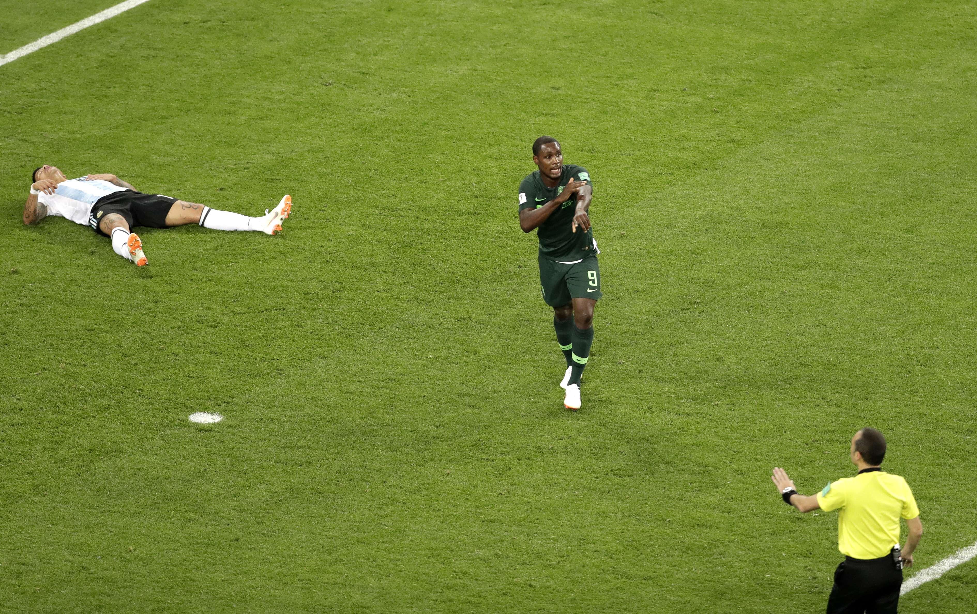 Odion Ighalo lors du match Argentine-Nigeria de la Coupe du Monde 2018, à Saint-Pétersbourg, en Russie, le 26 juin 2018.