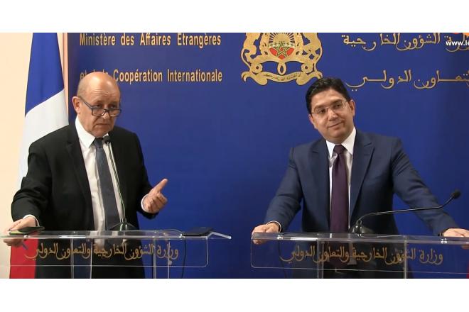 """Maroc-France : à Rabat, Jean-Yves Le Drian et Nasser Bourita saluent des """"principes identiques"""""""