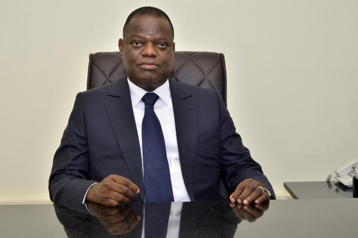 Sebastien Ajavon, en mars 2018 à Cotonou, dans le local de son patrti, son parti, l'Union sociale libérale (USL).
