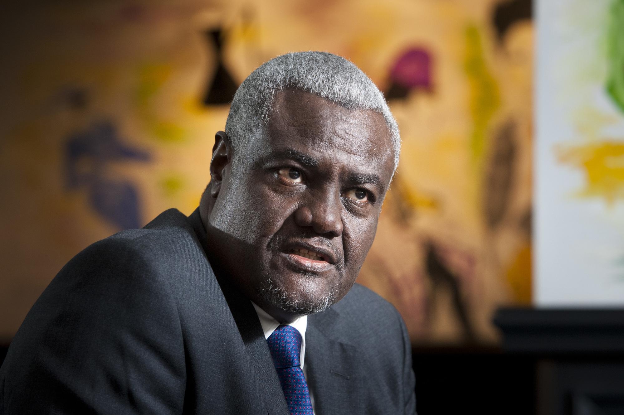 Moussa Faki Mahamat (Tchad), ancien Premier Ministre de 2003 a 2005, il est president de la Commission de l'Union Africaine depuis 20017. A Paris, le 09.06.2019. Vincent Fournier/JA