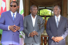 Thomas Boni Yayi, Patrice Talon et Alassane Ouatara, à l'issue d'une rencontre le 18 août 2016 à laquelle participait également Faure Gnassingbé.