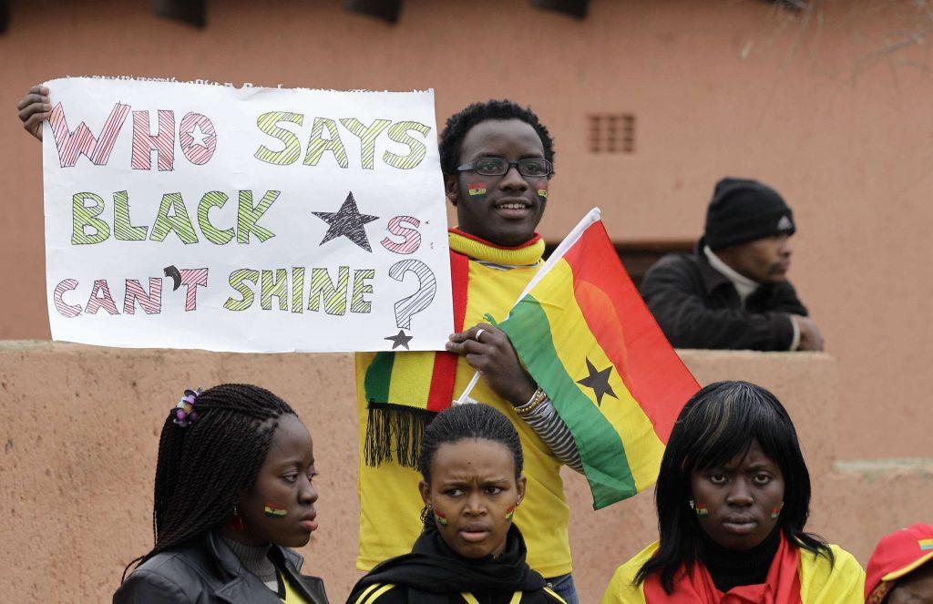 Un supporter de l'équipe nationale ghanéenne, lors du Mondial de football 2010, en Afrique du Sud.