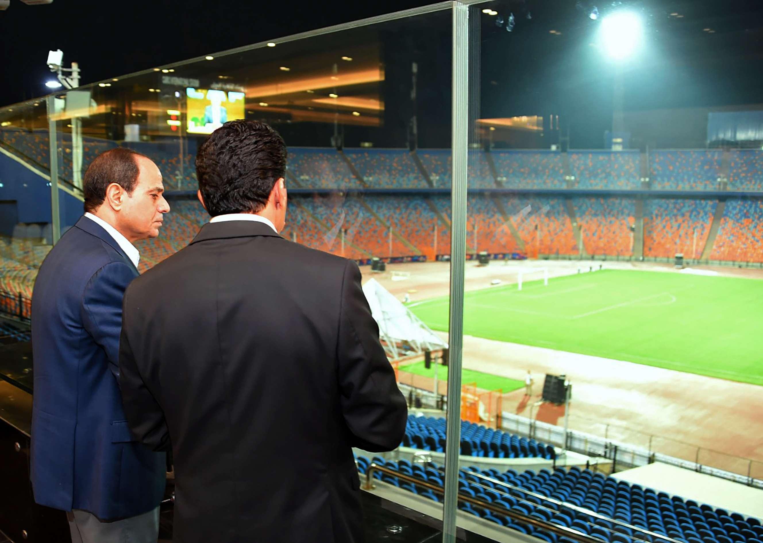 Le président égyptien Abdel Fatah Al Sissi, inspecte les stades du Caire en amont de la CAN 2019, le dimanche 16 juin.