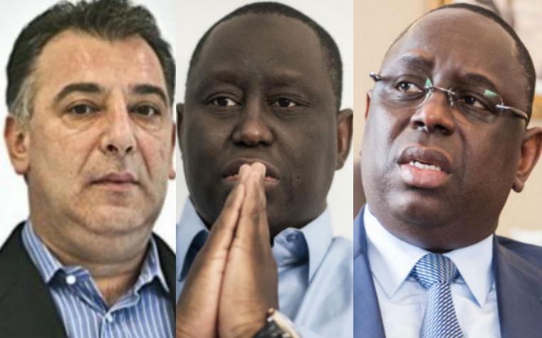 De gauche à droite : l'hommes d'affaires Frank Timis, Aliou Sall et Macky Sall, le président sénégalais.