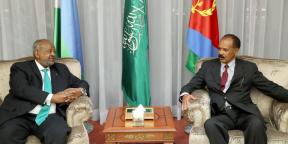 Lors de la rencontre entre Ismaïl Omar Guelleh, le président djiboutien (à g.) et Issayas Afeworki, le président érythréen, en septembre 2018.