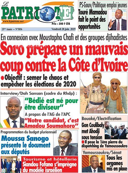 La Une du journal Le Patriote, d'Hamed Bakayoko.