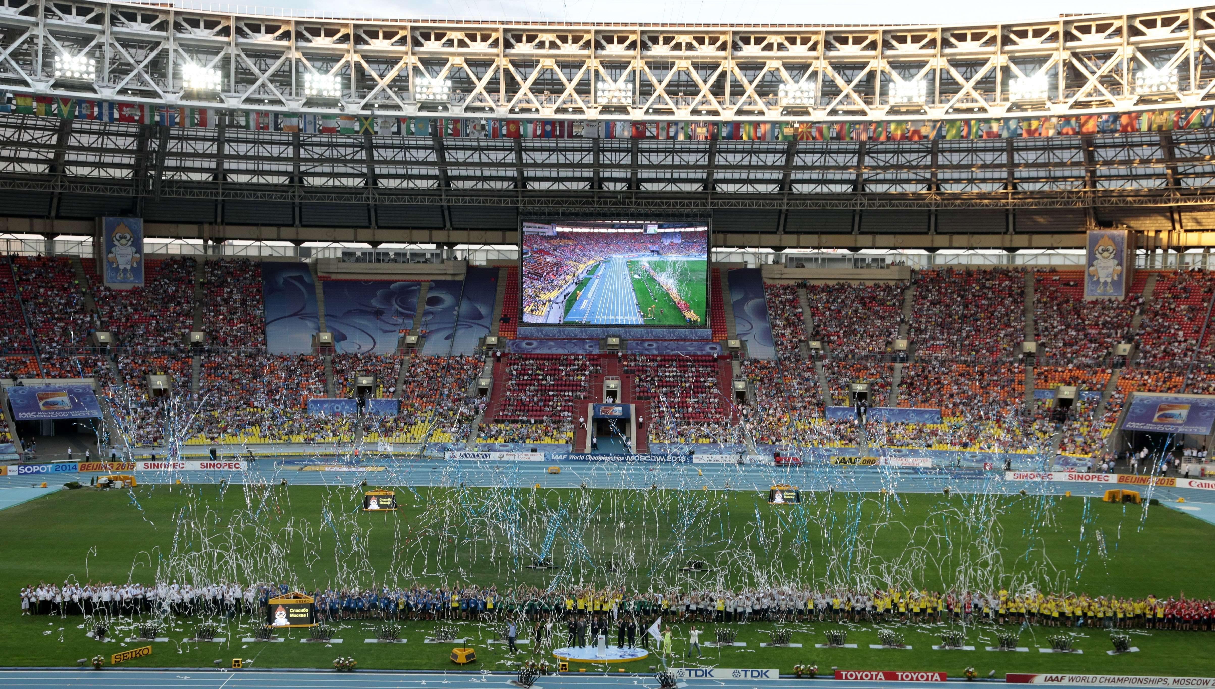 Cérémonie de clôture des Championnats du monde d'athlétisme au stade Luzhniki de Moscou, en Russie, le dimanche 18 août 2013.