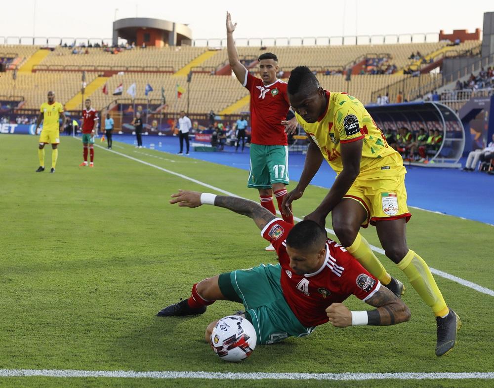 Le Béninois Jodel Dossou au duel avec le Marocain Da Costa, le 5 juillet 2019 au Caire.