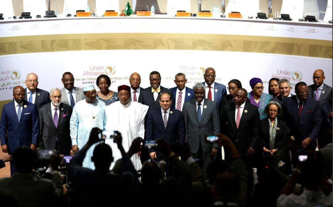 Les chefs d'État de l'Union africaine lors du lancement officiel de la première phase opérationnelle de la Zone de libre-échange continentale africaine (Zleca), le 7 juillet à Niamey.