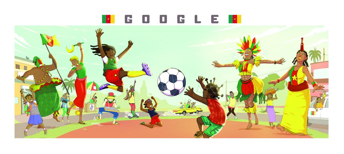 L'illustration de Reine Dibussi pour Google, à l'occasion de la Coupe de monde féminine de football.