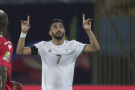 Riyad Mahrez célèbre un but lors du match de l'Algérie face à la Guinée en phase de poule de la CAN 2019, le 30 juin.