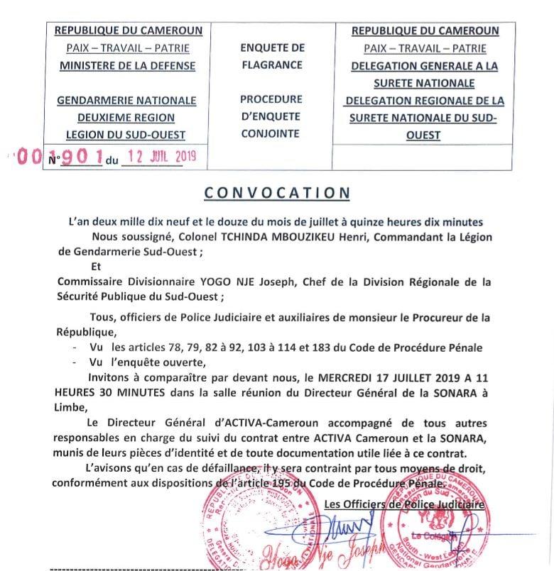 Convocation de Richard Lowé devant les services de police camerounais dans le cadre de l'enquête sur l'incendie de la Sonara (12 juillet 2019).
