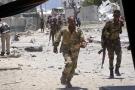 Des soldats somaliens au cours d'une attaque suicide à Mogadiscio, en mars 2019.