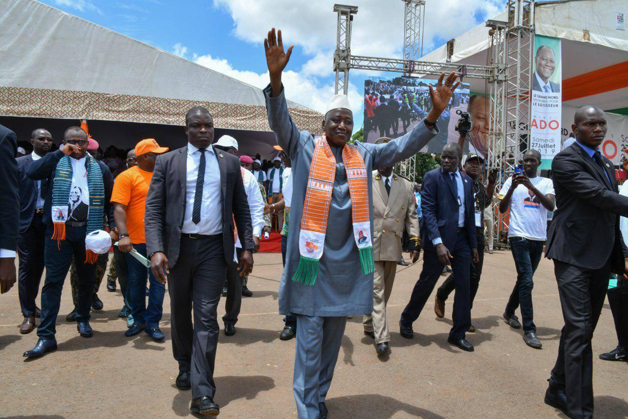 Amadou Gon Coulibaly, le Premier ministre ivoirien, lors d'un meeting à Ferkessédougou le 26 juillet 2019.