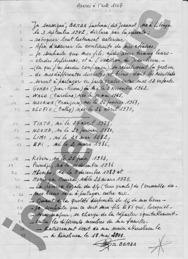 Testament de J.-S. Bemba
