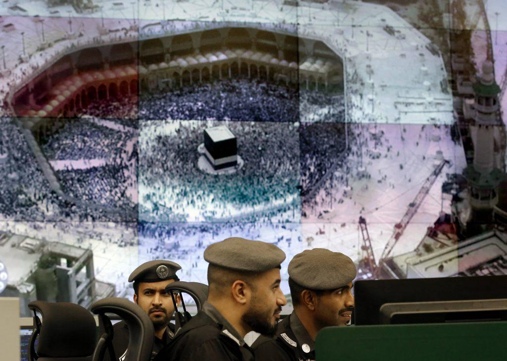 Des officiers de police saoudiens, à La Mecque, le 6 août 2019.