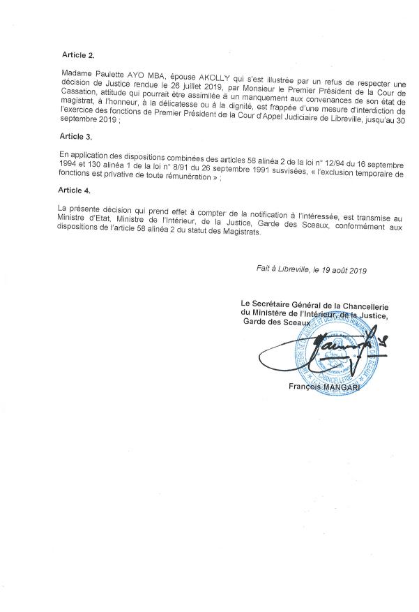 Suspension de la présidente de la Cour d'appel de Libreville, le 19 août 2019.